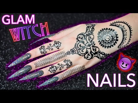 DIY Glam Witch Nails | Black Holographic Glitter mwahaha thumbnail
