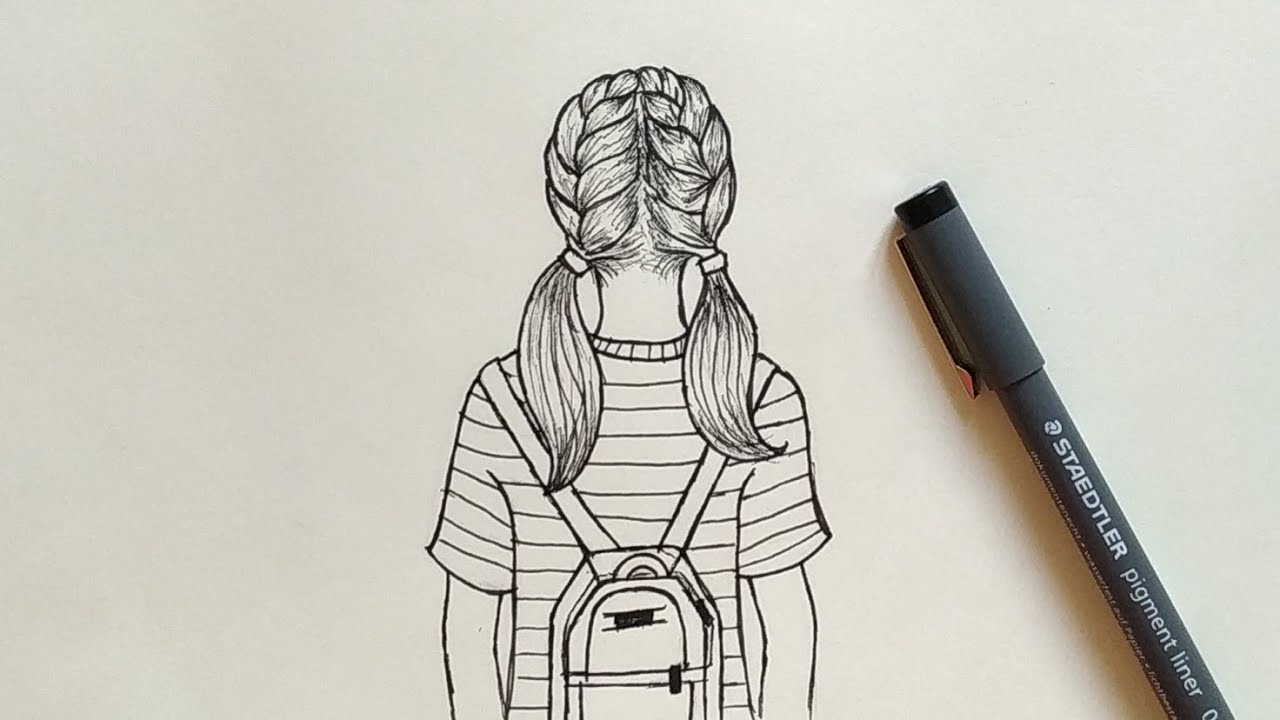 How to Draw a girl with backpack Easy | Step by Step - YouTube