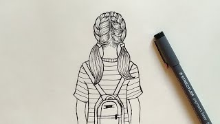 how to Draw a girl with backpack Easy | Step by Step