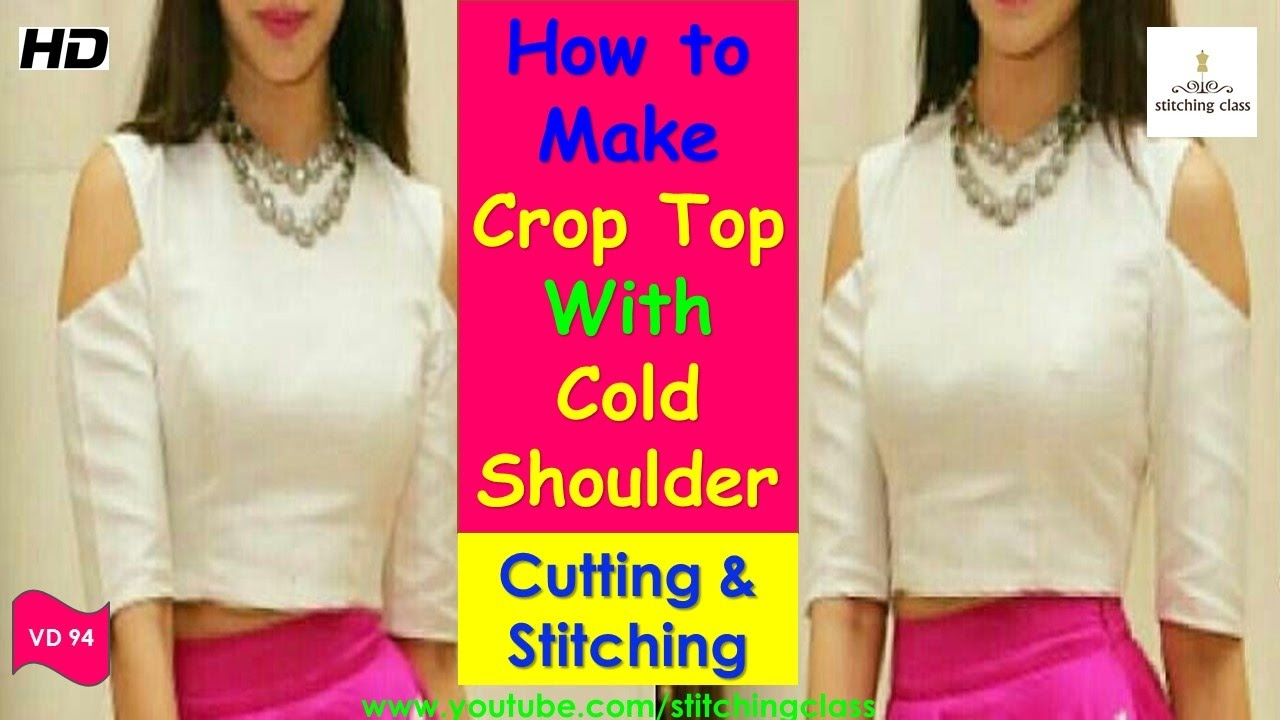 84a593b30 How to Make Crop Top With Cold Shoulder || Crop Top Cutting and Stitching