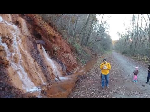 VISITING A BLOOD WATERFALL FLOWING FROM AN ABANDONED COAL MINE