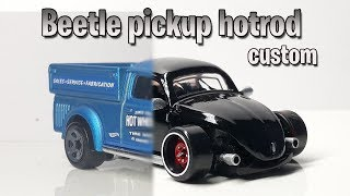 Diecast custom: Hot Wheels vw Beetle pickup hotrod.