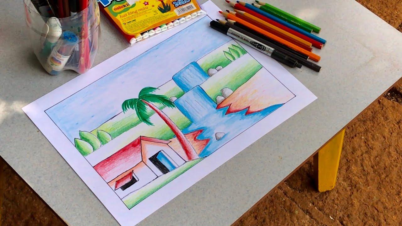 Hướng dẫn vẽ tranh phong cảnh thác nước đơn giản mà đẹp  | How to draw simple scenery