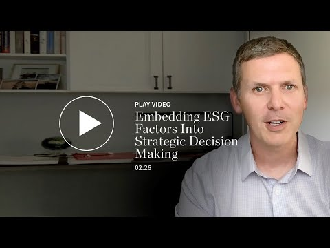 Embedding ESG Factors Into Strategic Decision Making