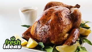 Roast Turkey Recipe With Honey Mustard Glaze And Thyme And Pancetta Stuffing