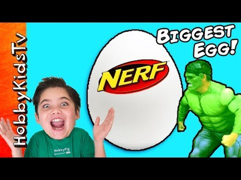 World's BIGGEST NERF Surprise Egg! Hulk Attack Family Fun HobbyKidsTV