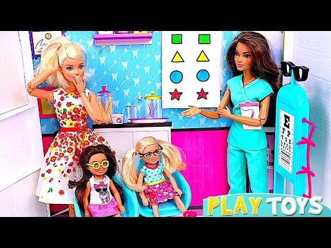 Barbie Girl and Baby Dolls Visit Barbie Eye Doctor Pretend Toys Play!