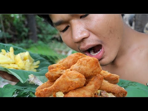 Primitive Technology:  Cooking KFC Chicken And France Fry Potatoes- Factory Food