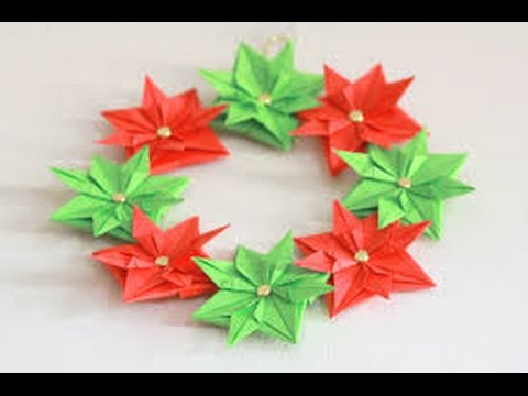 Origami Toys How To Make An Origami Christmas Wreath Youtube