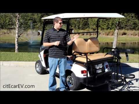 Golf Bag Holder for Golf Carts with Rear Facing Seat, by citEcar Electric Vehicles