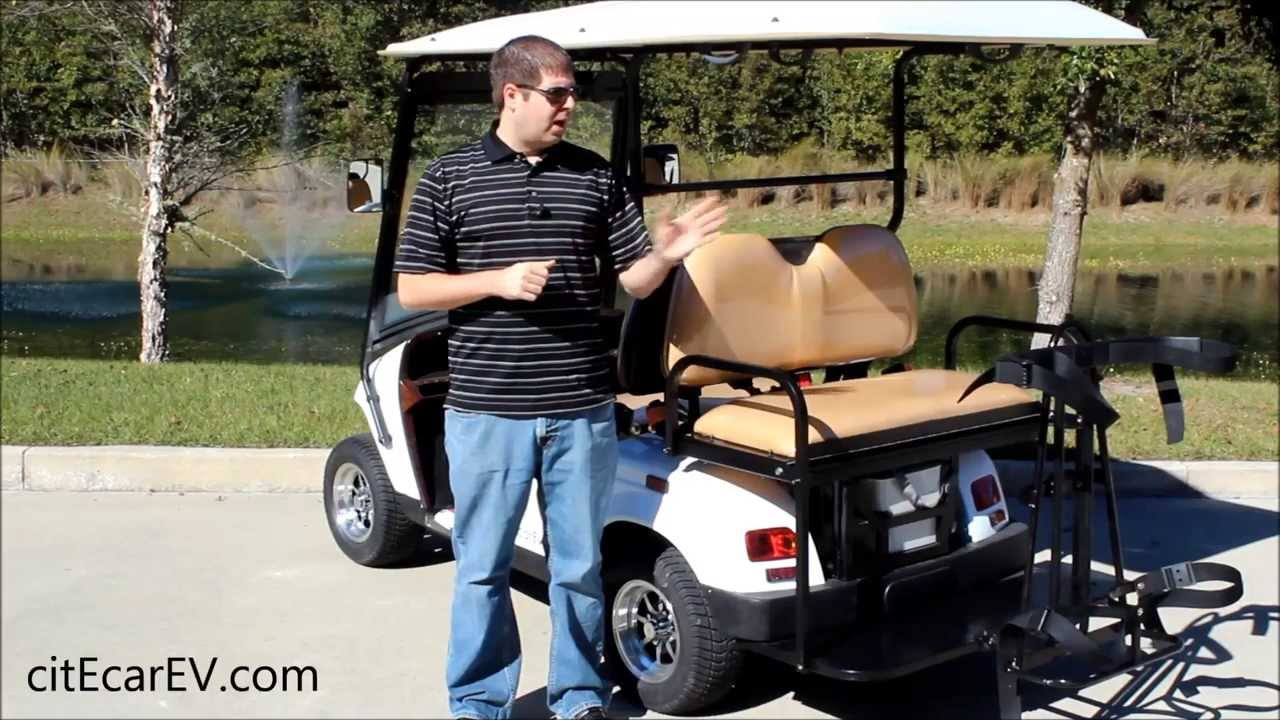 Golf Bag Holder For Golf Carts With Rear Facing Seat By