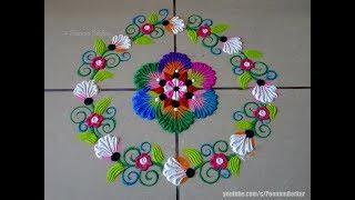 Beautiful flower rangoli using bangles | Easy rangoli designs by Poonam Borkar
