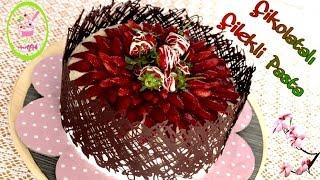 Çikolata Kaplı Çilekli Pasta/Çikolata ile Pasta Süsleme Tekniği/Gösterişli ve Kolay Pasta