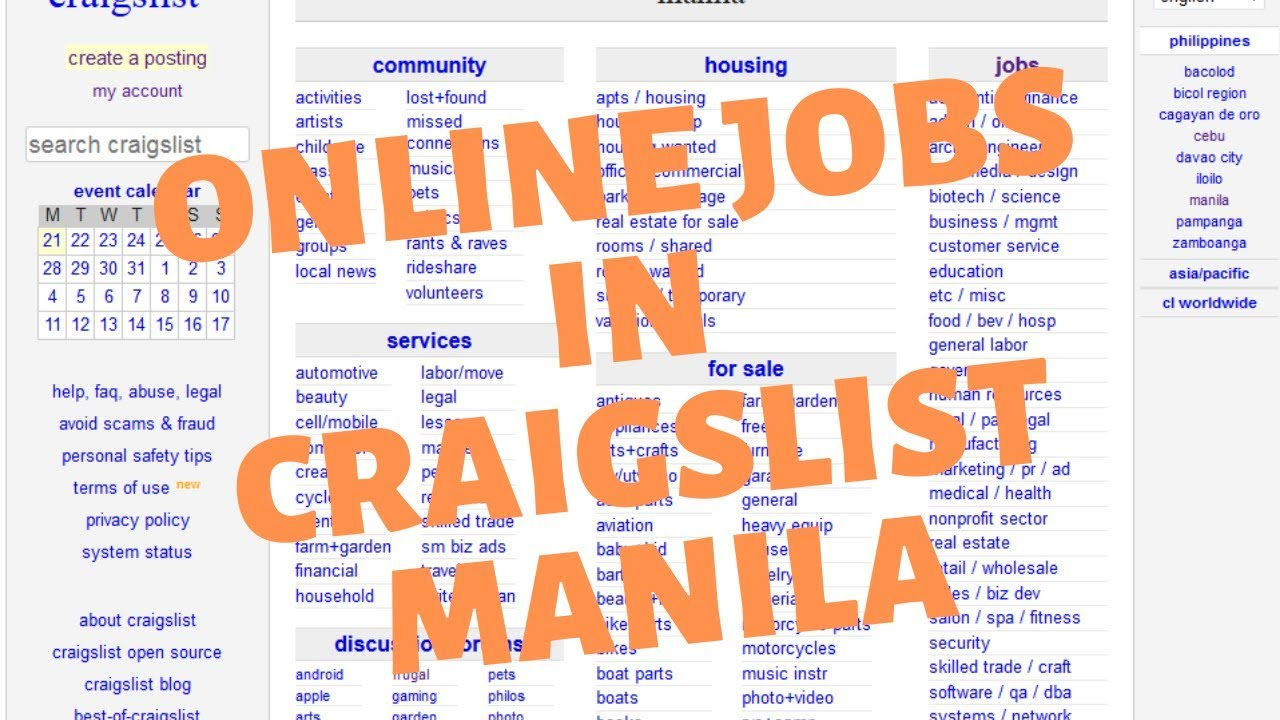 Different types of home based jobs in Craigslist Manila