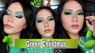Green Christmas Makeup Look Tutorial   Easy Holiday Makeup Look Idea   Noemie Grace Esber
