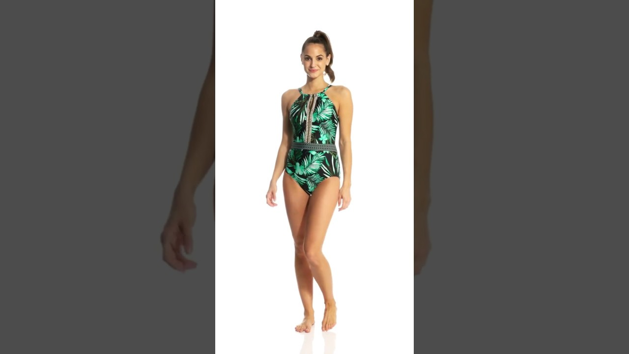 198ca036ba1 Jantzen Leafy Tropical High Neck One Piece Swimsuit