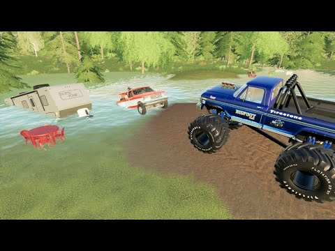 Saving campers stuck in mud and water with monster truck | Farming Simulator 19 |