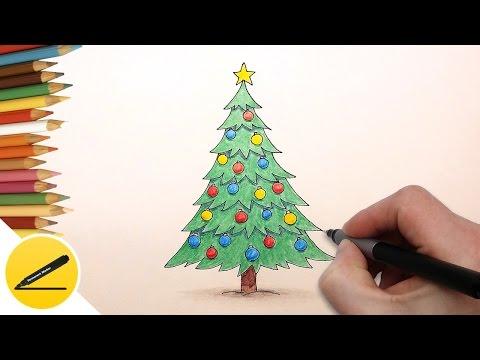 Как Нарисовать Новогоднюю Елку поэтапно для детей   Как рисовать елочку легко и просто