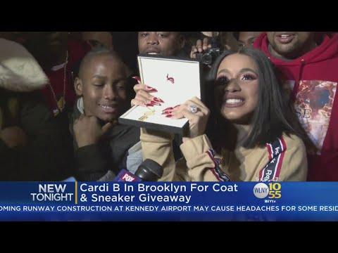 Cardi B In Brooklyn For Coat, Sneaker Giveaway