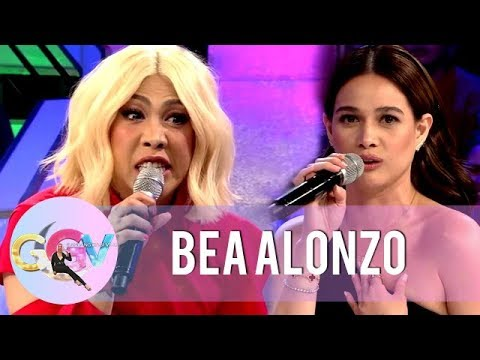 "Bea Alonzo and Vice Ganda reenacts a scene from the movie ""Four Sisters and a Wedding"" 