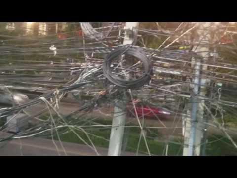 Electricity Mayhem - An electric pole in Bangkok