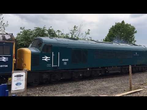 Cavalcade lead by 45 041 departs Princes Risborough at CPRR diesel gala 11/05/17