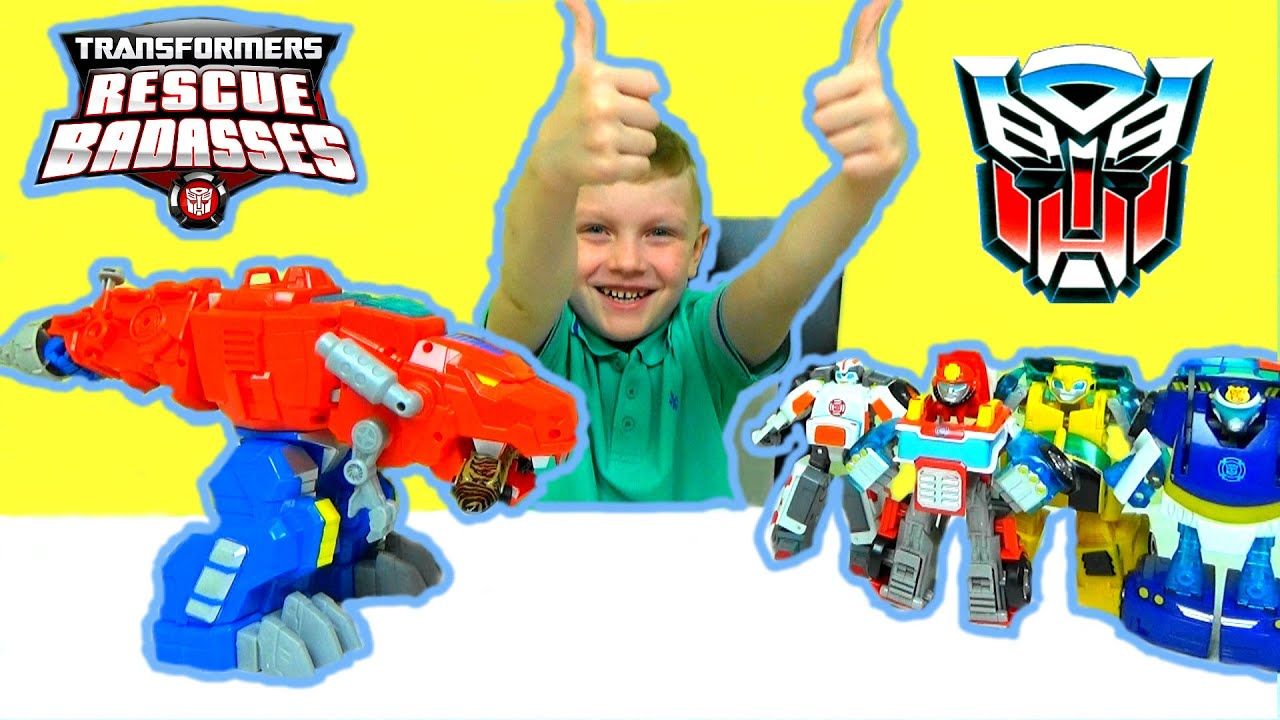 Видео для детей.Трансформер Оптимус Прайм. Динобот .Transformers Rescue Bots Optimus Prime Dinobots