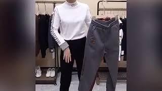 여성 추동 기모 배기팬츠 여자 패션 트레이닝 바지 배기…
