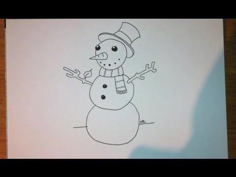 Comment dessiner un bonhomme de neige facile tape par - Comment dessiner un flocon de neige facile ...