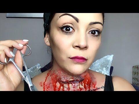 halloween liquid latex makeup for beginners throat slash