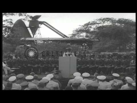 US Navy Fleet Admiral Chester W Nimitz delivers a speech about the Pearl harbor a...HD Stock Footage