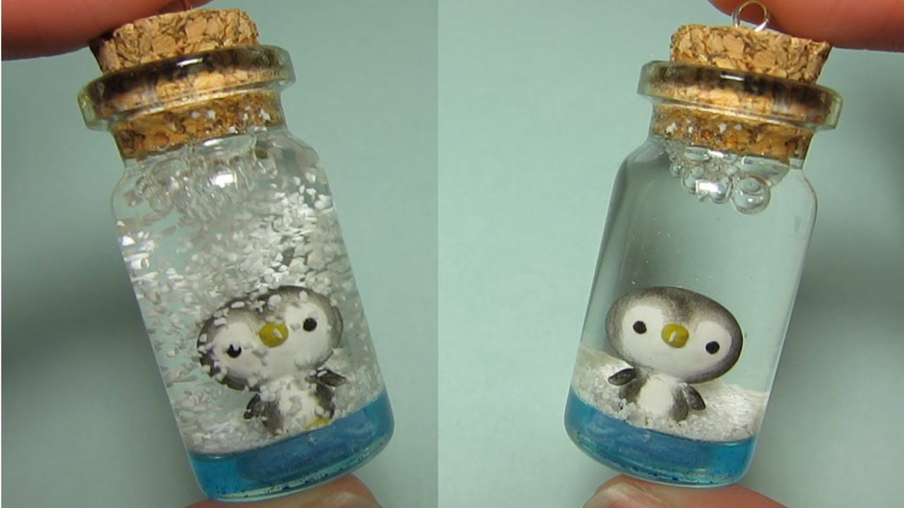 Penguin Mini Snow Globe Bottle Charm Polymer Clay YouTube