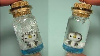 Penguin Mini Snow Globe: Bottle Charm (Polymer Clay)