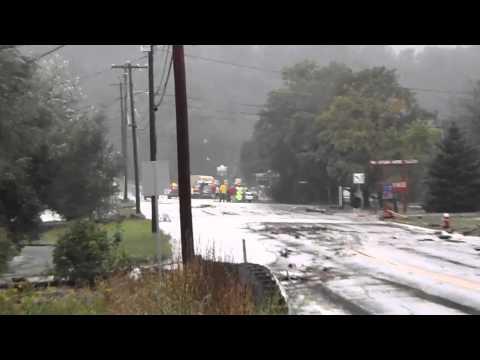 Vermont Flood Irene Rt9 Bridge near Chelsea Royal Diner.MP4