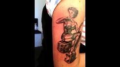 Tattoo Breem  pin up auf dem würfel