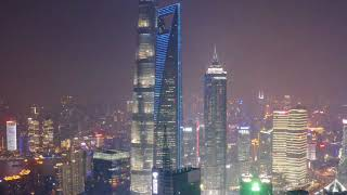 China Travel Tour - Shanghai - walking Lujiazui Financial Area Pudong Night Aerial Photography