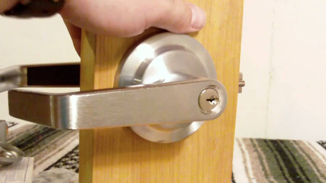 Storeroom function lever handle from www.lockpeddler.com - YouTube