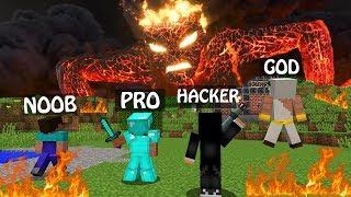 Minecraft NOOB vs PRO vs HACKER vs GOD : LAVA MONSTER ATTACK in Minecraft / Animation battle