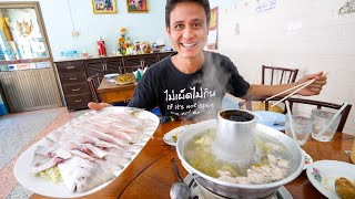 Eating a POMFRET STEAMBOAT! Thai Chinese Food in Surat Thani, Thailand!