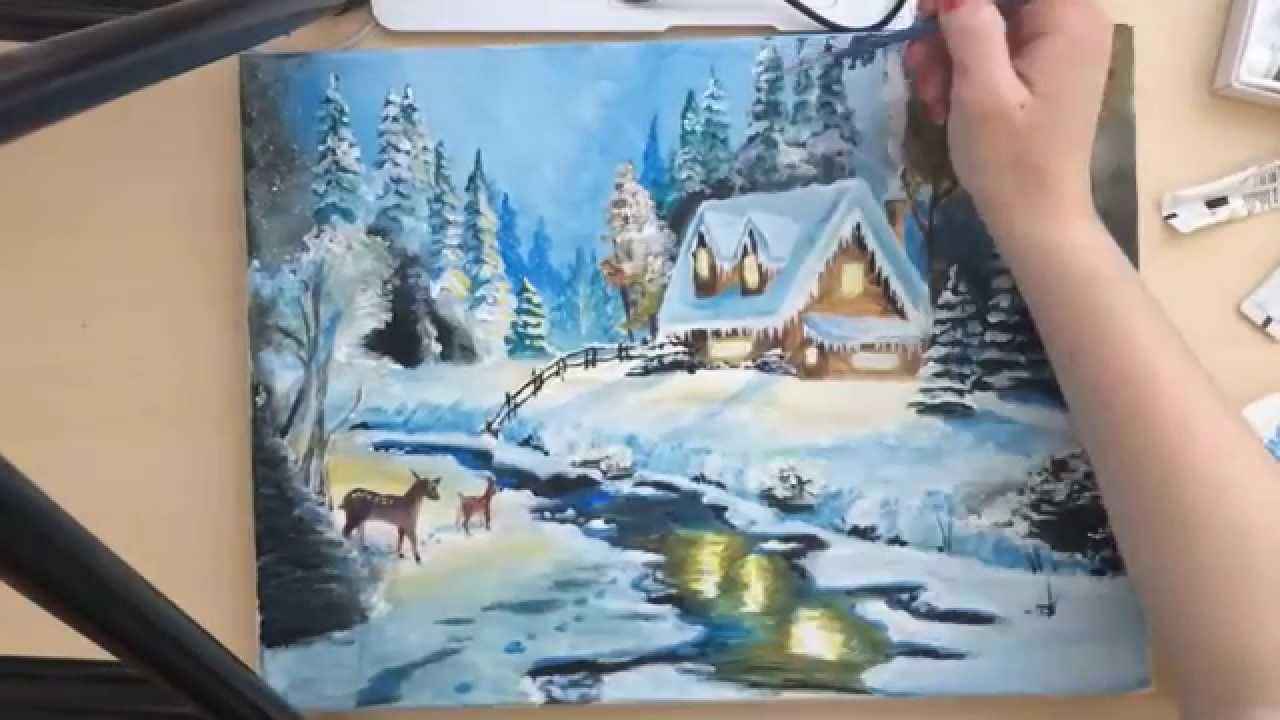 Time Lapse Tutorial Christmas Winter Scene Painting