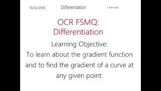 OCR FSMQ Additional Mathematics - Lesson 10: Differentiation