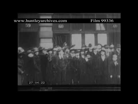 South Wales mining village during strike, 1920's.  Archive film 99336