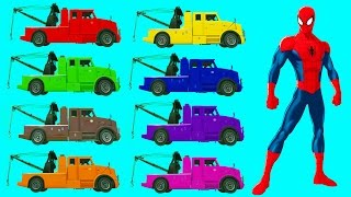 SPIDERMAN teaching COLORS with vehicles tow truck and nursery rhymes songs