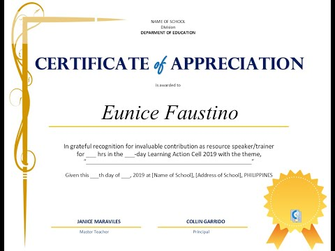 Certificate Of Appreciation For LAC Training (DepEd) - FREE TEMPLATE V1