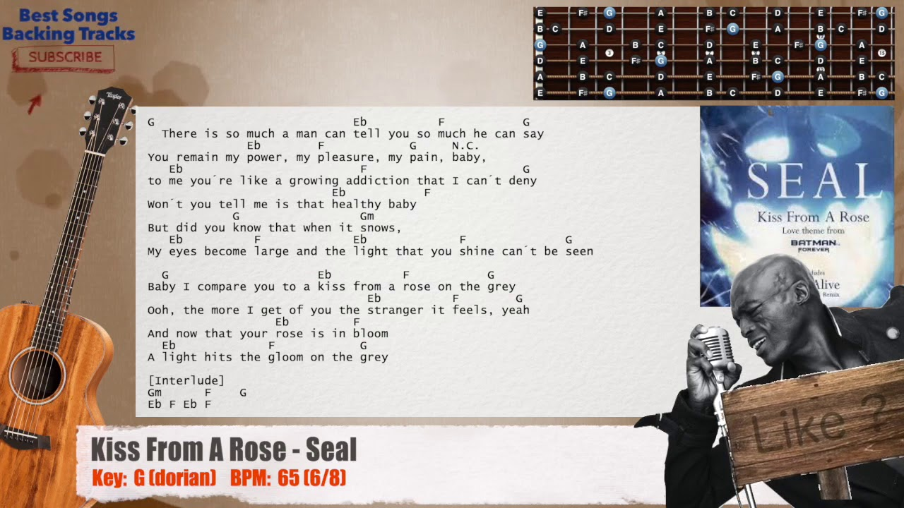 🎸 Kiss From A Rose   Seal Guitar Backing Track with chords and lyrics