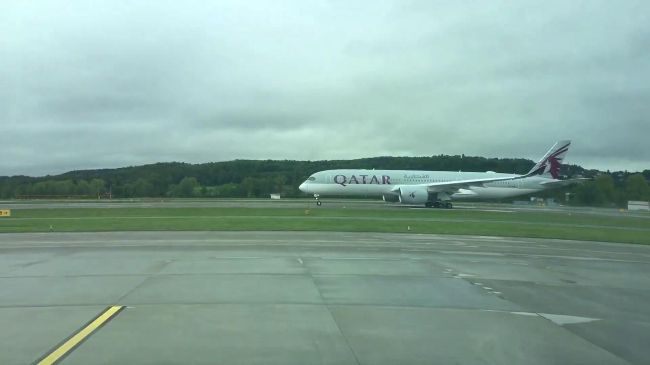 Qatar's new A350 on contaminated runway at Zurich airport ...  Qatar's new...