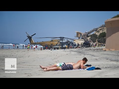 Marine's biggest helicopter makes emergency landing in the m