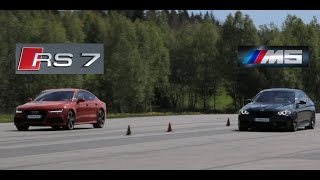 Audi RS7 (stock) vs tuned BMW M5 F10 (Bimmers of Sweden Official)
