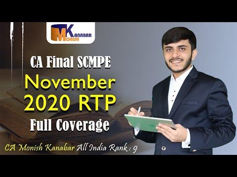 CA Final SCMPE RTP Nov2020 | Full Coverage | CA Monish Kanabar