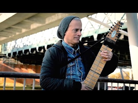 Playing Chapman Stick Musical Instrument Street Performer Live Guitar Music